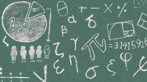 Pizarra con matemáticas