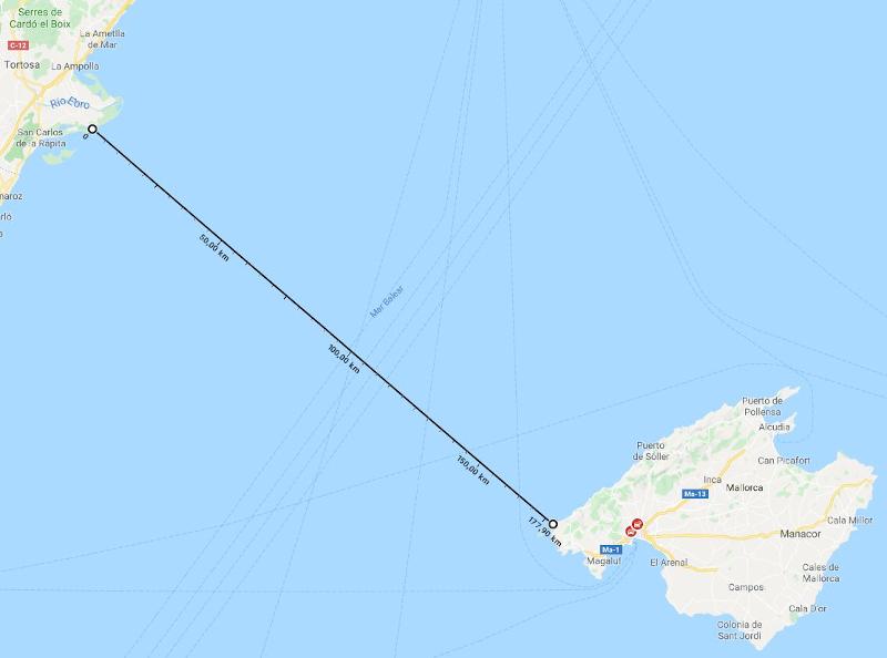 Mapa con la distancia entre el Delta del Ebro y Mallorca.
