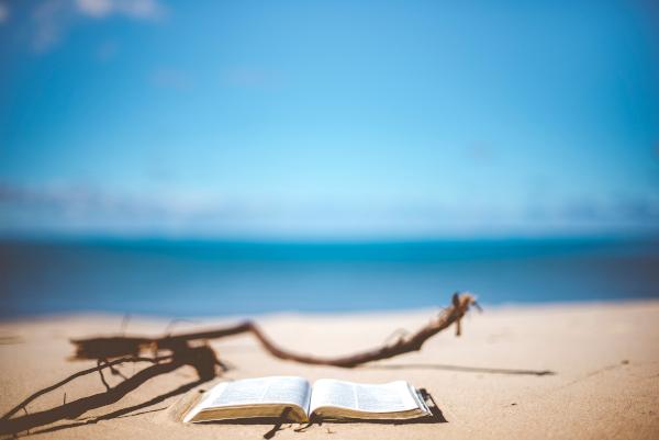 Libro abierto sobre la arena.