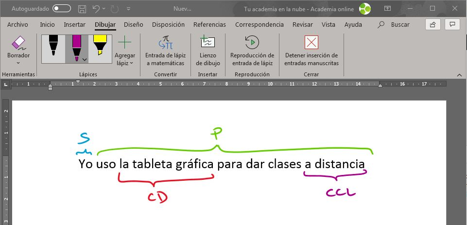 Imagen de Word en la que se muestra un ejemplo de cómo utilizar una tableta gráfica para explicar el análisis sintáctico.